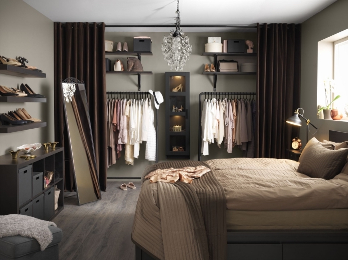 id e dressing plus de 70 id es pour am nager le dressing. Black Bedroom Furniture Sets. Home Design Ideas