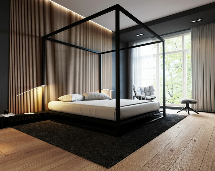 lit baldaquin et sol en planches de bois dans une chambre stylisée en noir et blanc, idée déco chambre parentale