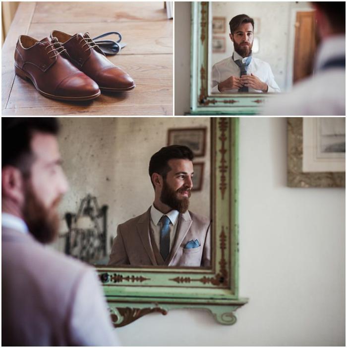 chaussure homme pour mariage marron, miroir vintage, cadre peint vert menthe, cravate bleue