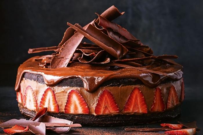 idée gateau au nutella super bon, cheesecake au chocolat et fraises sur un fond biscuité décoré de copeaux de chocolat et glaçage coulant