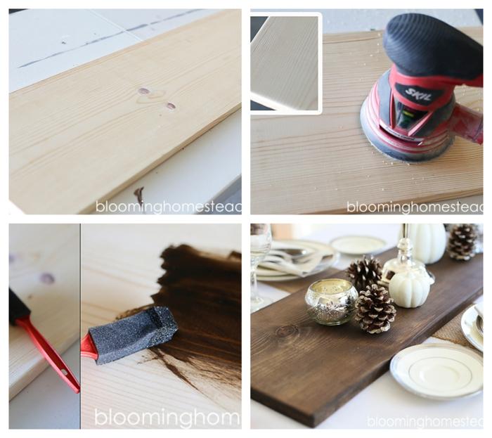 chemin de table à faire soi-même, planche de bois posée au centre de la table, décoré de pommes de pin, de petites citrouilles