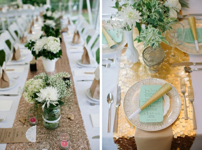 chemin de table paillettes, chemin de table lin, assiettes élégantes, bouquets doux blancs en pots de verre