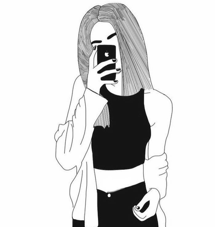 idée dessin de fille en noir et blanc avec cheveux longs, tenue noire, fille qui prend un selfie dans le miroir