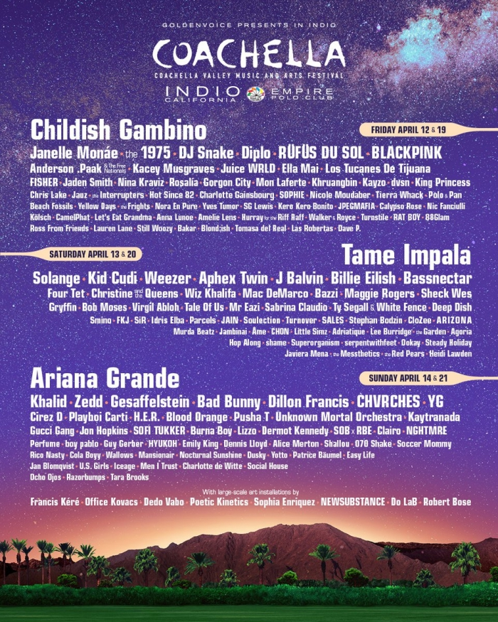 coachella 2019 programmation officielle, dates et artistes festival californien Coachella, Ariana Grande Childish Gambino et Tame Impala Coachella
