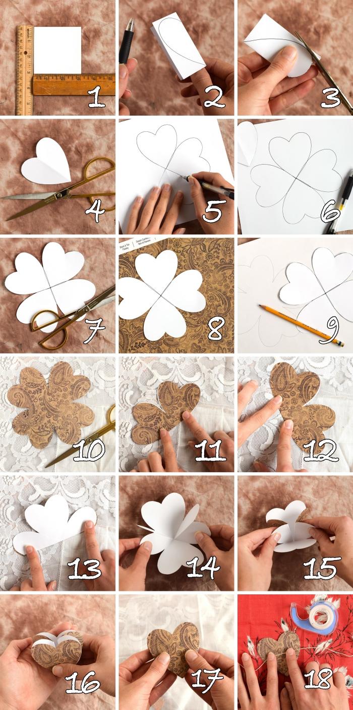 comment faire un coeur origami, tutoriel carte diy pour fête d'amour, jolie carte d amour avec coeur pliable en papier scrapbook