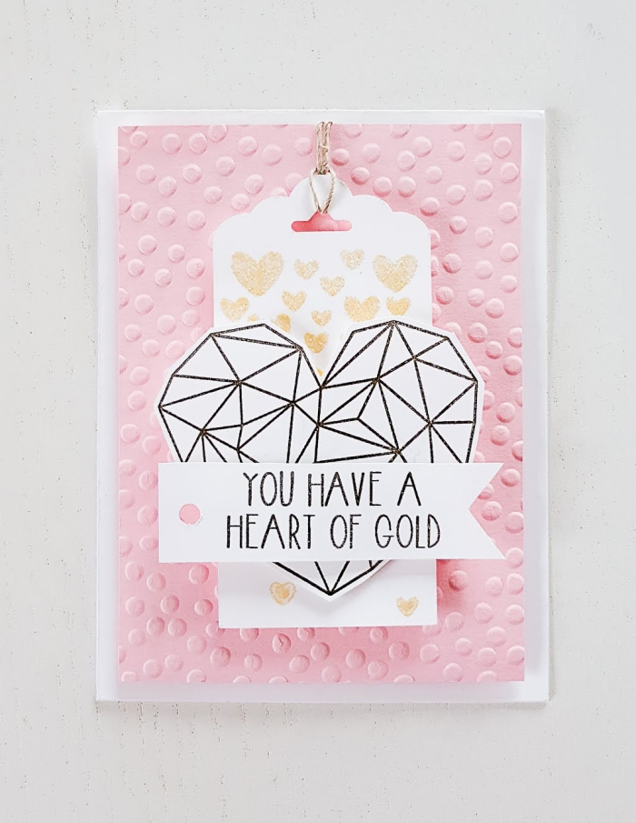 modèle de carte fait main pour femme, carte anniversaire scrapbooking en papier rose relief avec coeur origami