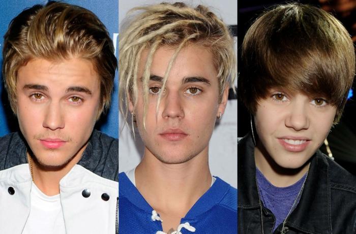 les coupes de Justin Bieber, cheveux bien lissés en arrière, coiffure en tresses cheveux blonds, cheveux séchés dn avant