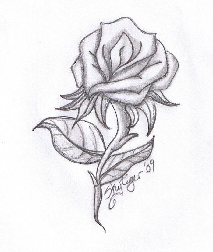 dessiner une rose facilement soi meme, idée de dessin graphique noir et blanc à réaliser pour la saint valentin
