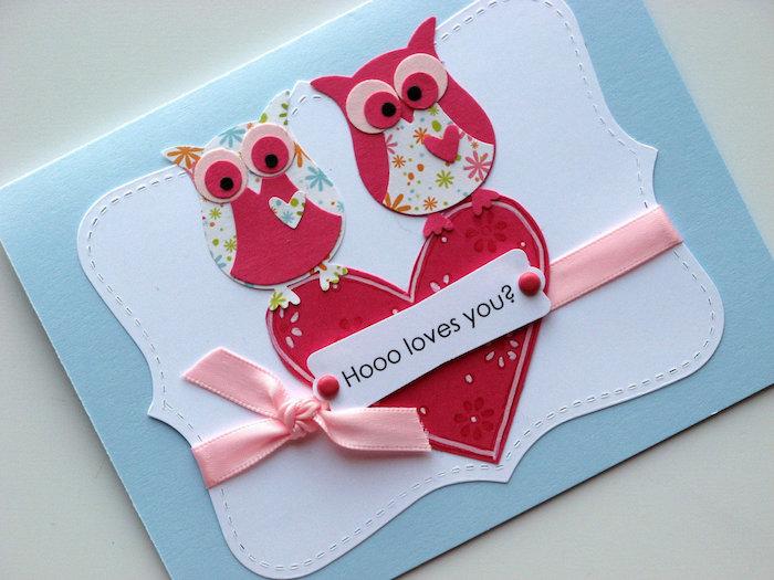 idée originale saint valentin en papier bleu avec coeur et hibou en papier et decoration de ruban rose, bricolage saint valentin scrapbooking carte