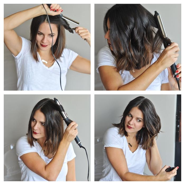 les astuces pour faire des bwach waves avec un fer à boucler, idée de coiffure sur cheveux carré chatain