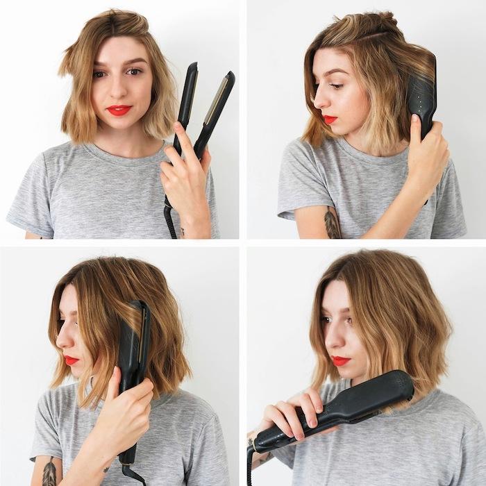 comment faire des boucles façon beach waves avec un lisseur simple, tutoriel coiffure facile cheveux mi long a faire soi meme