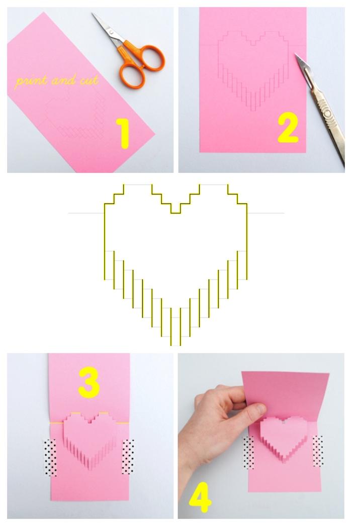 exemple cadeau a faire soi meme, carte dde voeux diy motif pixel art 3d, tutoriel comment couper et plier le papier