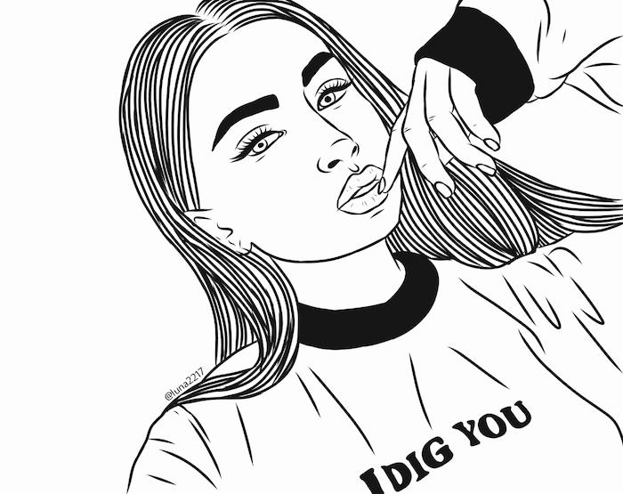 tumblr outlines dessin de fille swag aux cheveux longs, pull décontracté, image noir et blanc, visage contourné