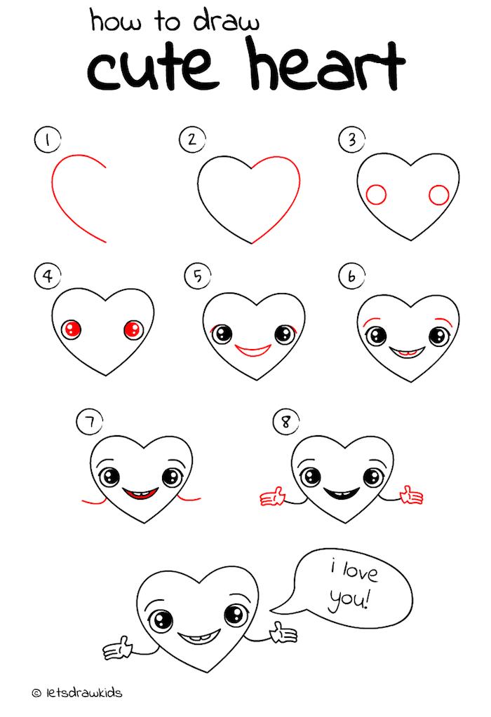 dessin de coeur mignon à colorier petit bonhomme de coeur avec des yeux et une bouche et un ballon je t aime