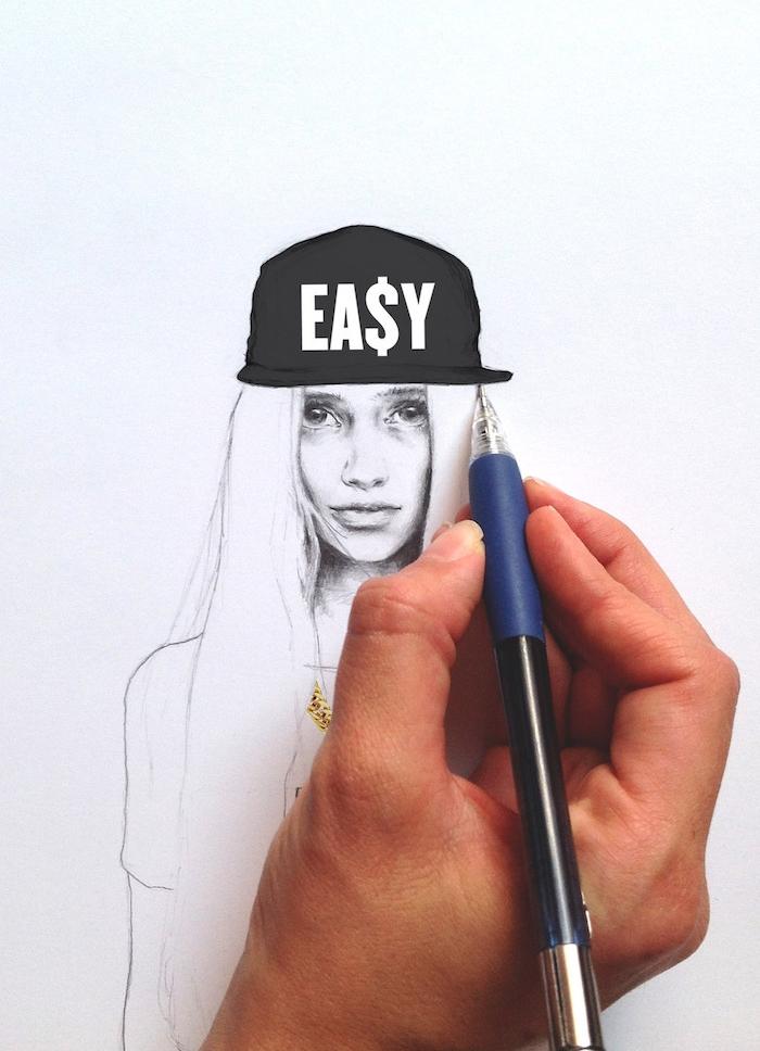 idée de femme street style dessin graphique au crayon, apprendre a dessiner de manière réaliste portrait femme