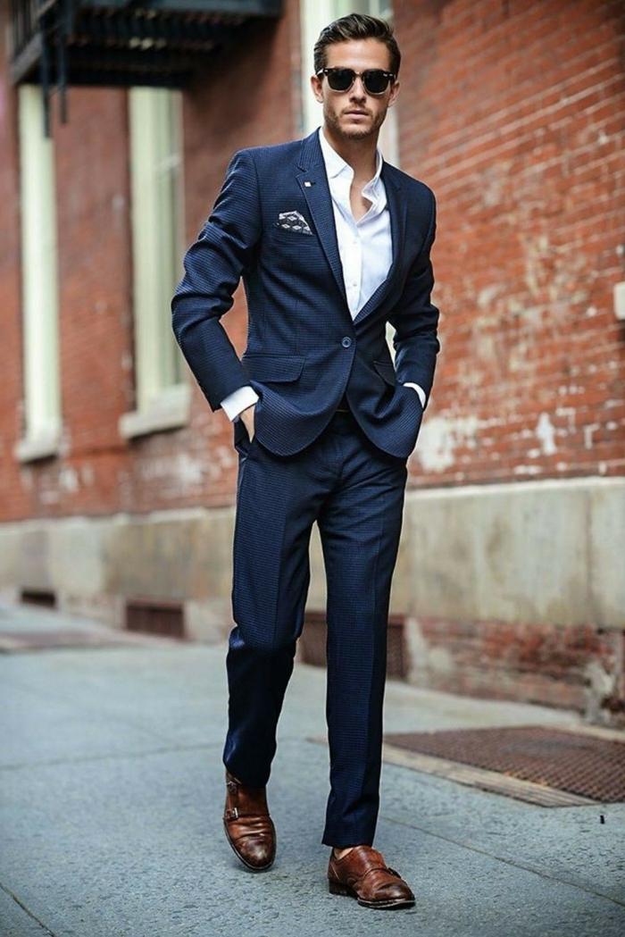 lunettes de soleil homme, chemise blanche, veste et pantalon, costume homme chic