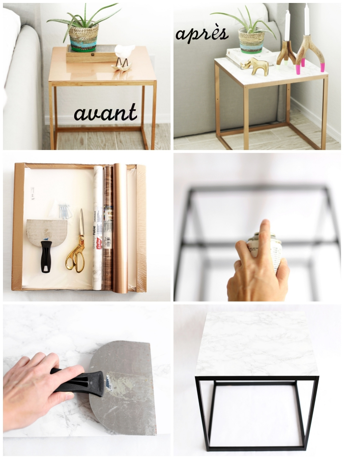 customiser une table meuble repeint avant après