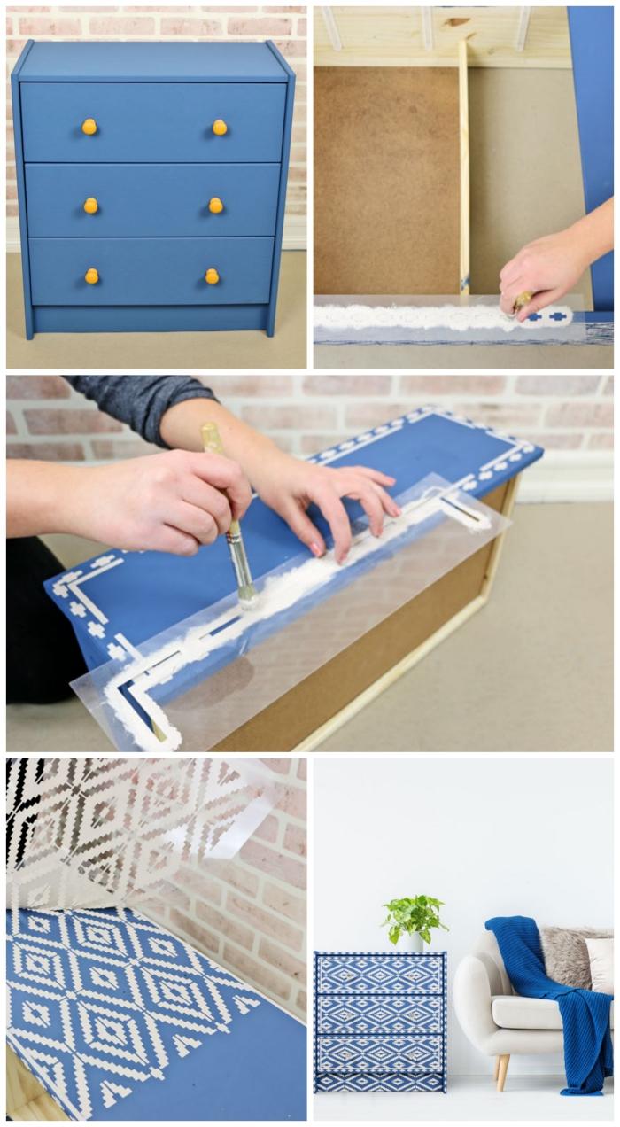 relooker une commode rast avec de la peinture bleu effet craie et des motifs graphiques réalisés au pochoir, idée pour peindre un meuble ikea