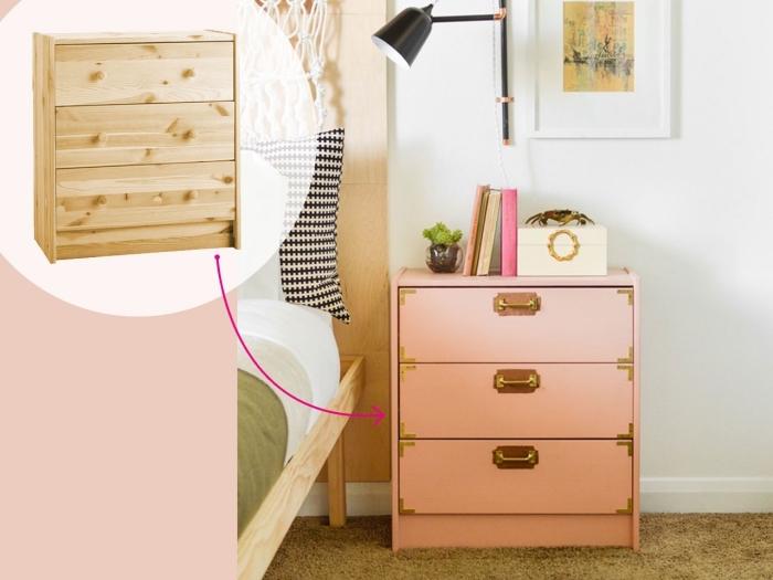 une commode rast repeinte en rose pastel avec nouvelles poignées métalliques, repeindre meuble ikea pour lui donner un nouvel air