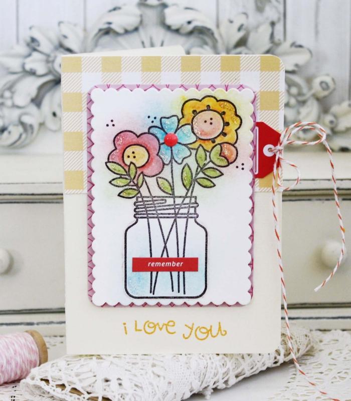 activité manuelle adulte, fabrication carte pour enfant, diy carte en papier cartonné avec dessins bouquet de fleurs