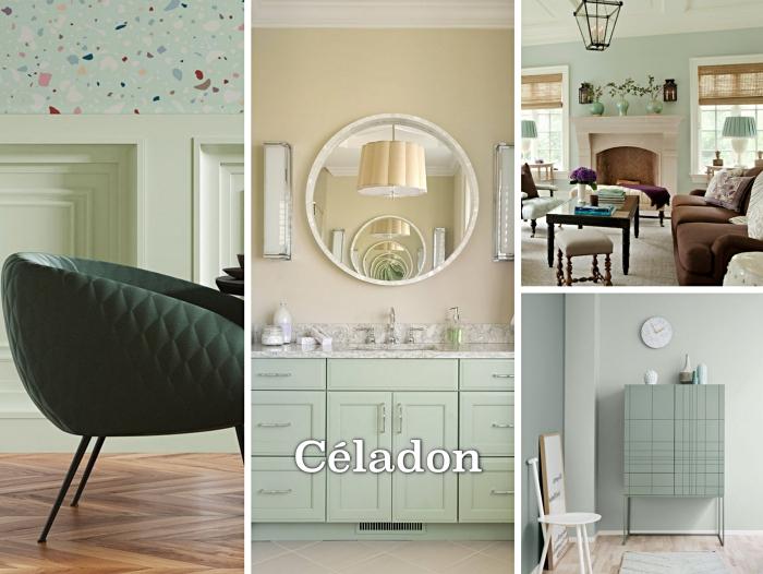 déco de salon aux murs vert celadon, modèle de chaise vert foncé aux pieds noirs, aménagement salon vert avec cheminée