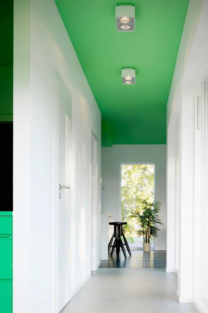 déco couloir étroit tout blanc rendu visuellement plus large grâce au vert vitaminé sur le plafond