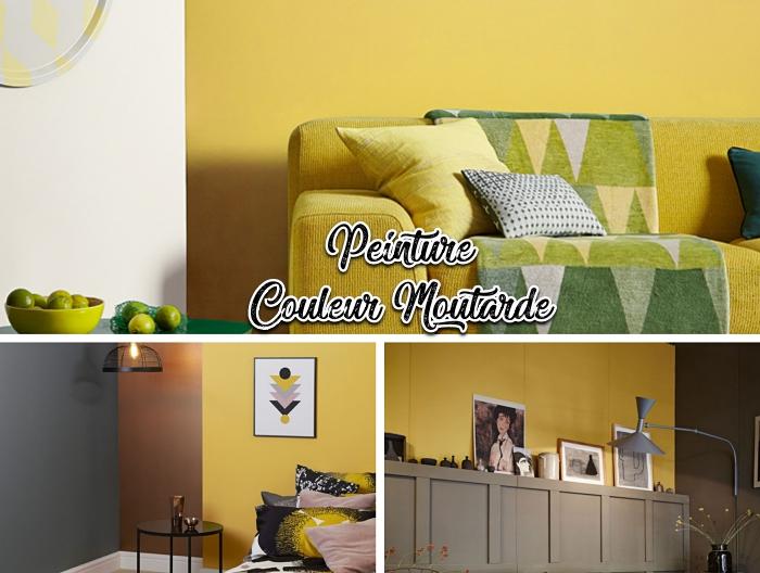 objet deco jaune, peinture murale salon ou chambre à coucher tendance 2019, peinture murs bicolore jaune et blanc