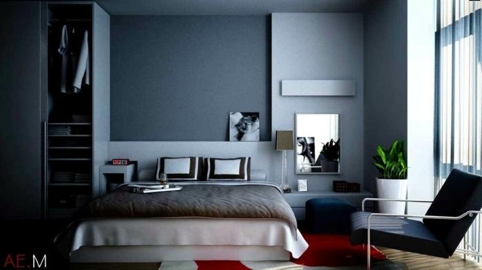 couleur mur chambre bleu et gris, chaise noire, tapis en rouge et blanc, photographies monchromes