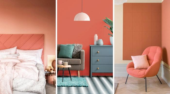 trois décors avec couleur de l'année 2019, mur pêche, tête de lit pêche, commode bleu colombe, sofa gris, fauteuil rose, peinture murale tendance