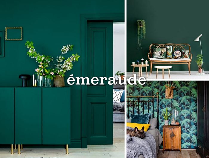 exemple de mur vert dans un couloir élégant, modèle meuble rangement couloir de couleur vert foncé avec pieds dorés