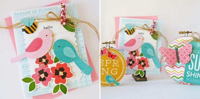 idée scrapbooking facile, modèle de carte DIY avec papier en couleurs et figurines d'oiseaux et fleurs scrapbook