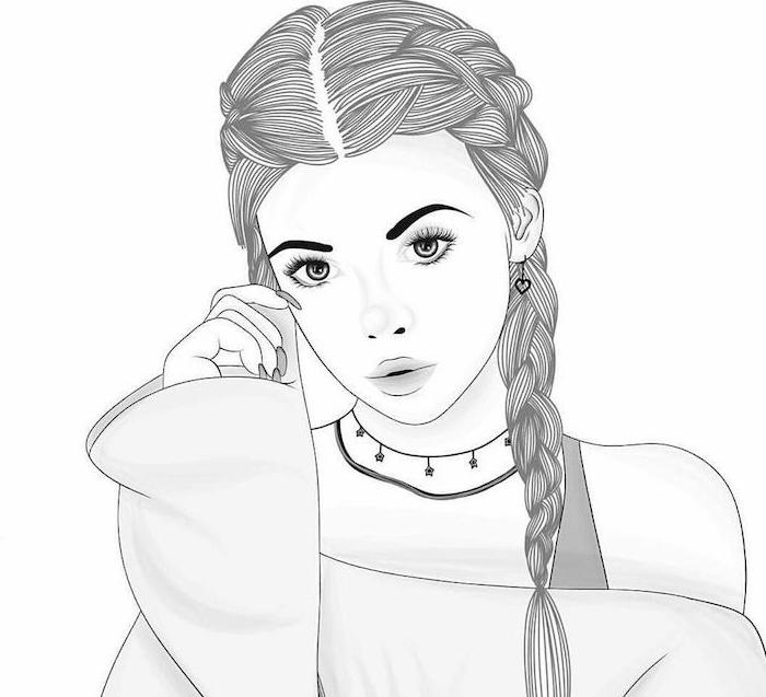 dessin tumblr style d une fille avec coiffure tresse, blouse à manches évasés et visage dessin facile