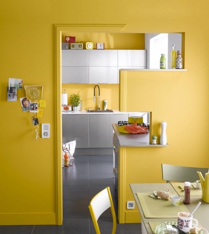 peinture jaune moutarde, déco petite cuisine aux murs jaune avec meubles gris, meubles haut cuisine gris clair