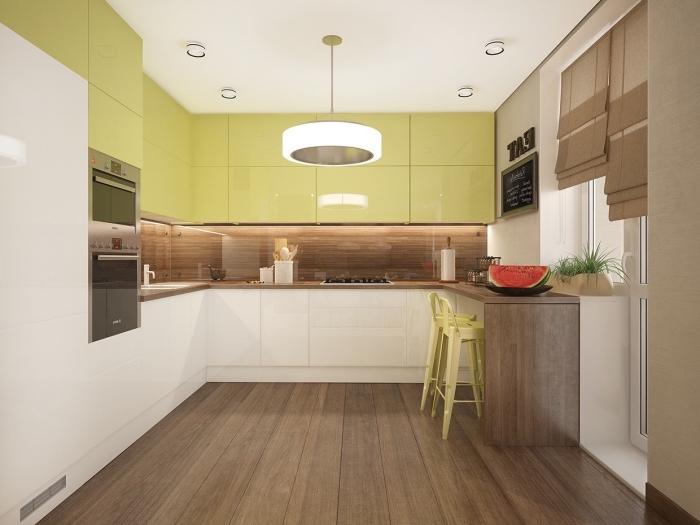 agencement cuisine en U avec meubles haut en vert anis et meubles bas blanc, modèle crédence cuisine en bois