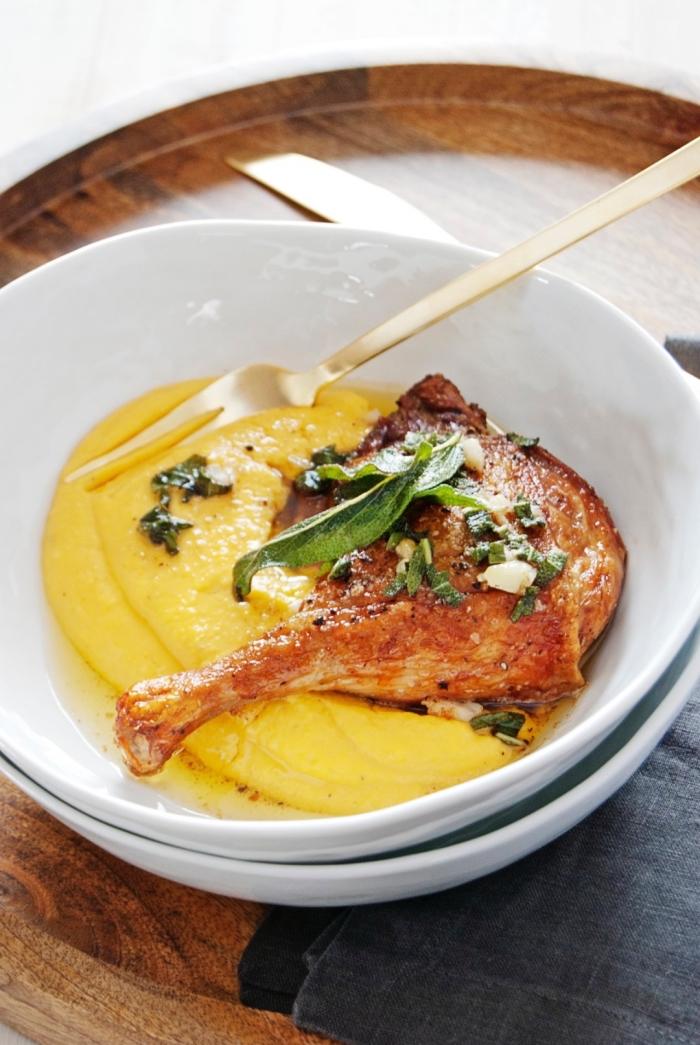recette de cuisse de canard rôtie au four garnie de purée à la courge musquée et au mascarpone, recette mascarpone salé
