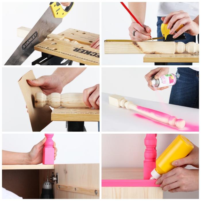 tuto pour installer des pieds balustres peints en rose fluo sur un caisson ivar de chez ikea, un meuble relooké pour décorer le salon ou l'entrée