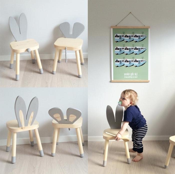 astuces ikea chambre enfant, customiser des tabourets en bois en ajoutant des oreilles en bois gris