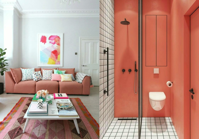 salle de bain pêche et blanc, salon saumon et blanc, tendance déco la couleur pantone 2019, salle de séjour et salle de bain