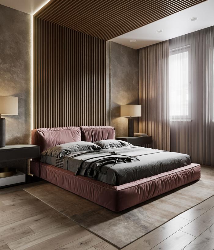 déco chambre contemporain aux murs béton avec plafond blanc revêtement de sol bois meubles design spots led éclairage rideaux longs déco penture chambre adulte