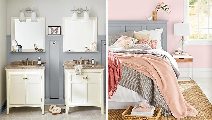 couleur pantone 2019 dans l'intérieur, salle de bain en gris et blanc et chambre en gris et rose, tapis tressé rustique, petit chevet en bois et fer