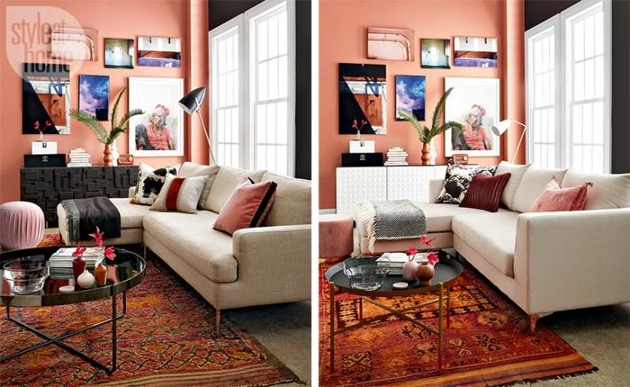 tapis ethnique dans une chambre en rose, grand sofa blanc, tableaux d'art au mur, petite table ronde