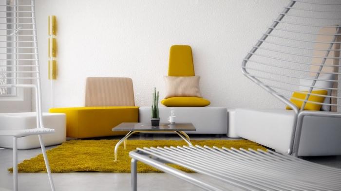 design intérieur blanc et jaune, mobilier salon de couleur moutarde, modèle de tapis rectangulaire en jaune moutarde