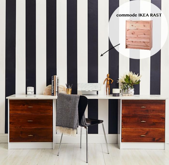 detournement meuble ikea, fabriquer un grand bureau à partir de deux commodes rast de chez ikea, coin bureau élégant