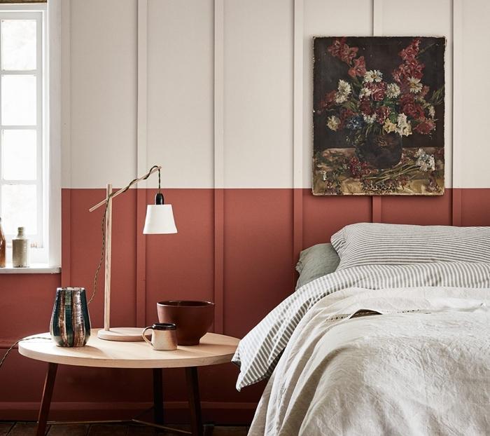 deco chambre adulte couleurs deux peinture terracotta table bois pieds metal revetement de sol bois blanc peinture fleurs chambre deux couleurs