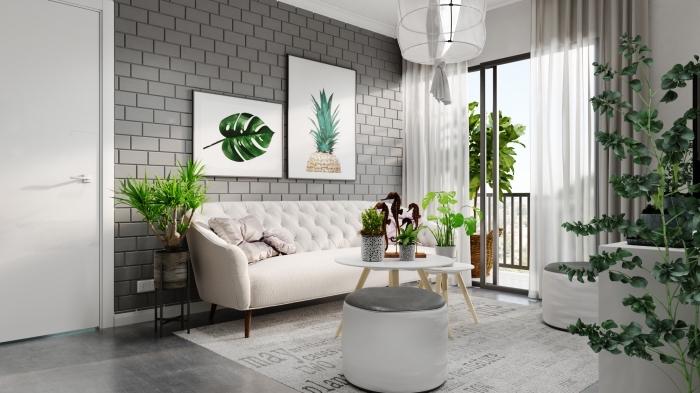 quelle couleur associer au gris, design intérieur moderne en blanc et gris dans un salon avec mur briques grises