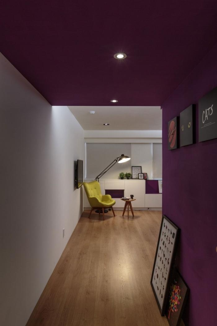 deco couloir moderne au mur et plafond peints en violet qui donne sur un salon blanc moderne, déco couloir avec un mur de cadres noirs