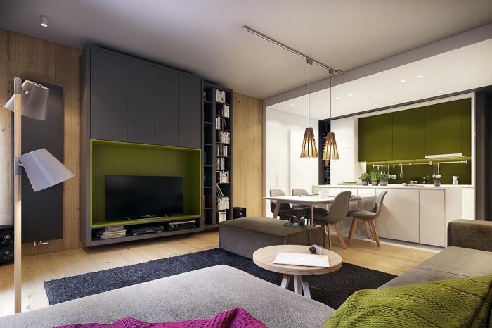 déco de salon moderne en gris et bois avec meuble rangement tv en couleur olive, modèle de cuisine blanc et vert