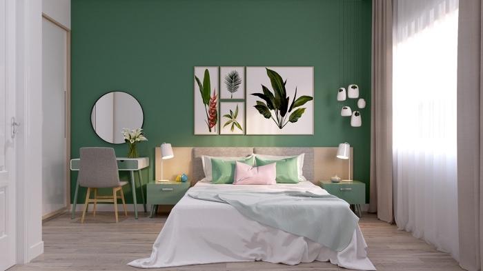 idée peinture chambre à coucher adulte moderne, pièce blanc et bois avec mur vert, modèle de grand lit avec meuble de chevet vert