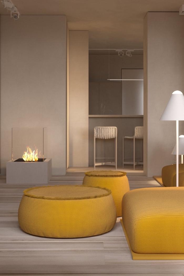 les couleurs qui vont ensemble, salon contemporain design épuré, peinture murale nuance beige ou gris avec objets de déco jaune