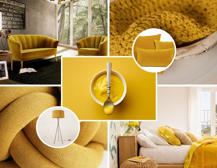 tendance déco 2019 avec objets ou peinture jaune, couleur moutarde dans la déco, modèle de canapé en velours jaune et bois